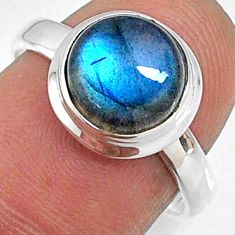 4.18cts natural blue labradorite 925 silver solitaire ring size 7.5 r66352
