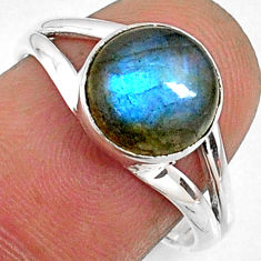 4.34cts natural blue labradorite 925 silver solitaire ring size 7.5 r66358