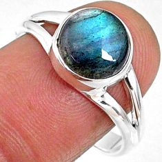 4.51cts natural blue labradorite 925 silver solitaire ring size 8.5 r66363