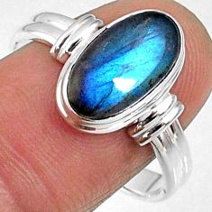 4.69cts natural blue labradorite 925 silver solitaire ring size 9.5 r66366