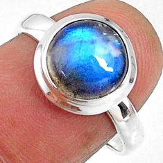 4.18cts natural blue labradorite 925 silver solitaire ring size 7.5 r66372