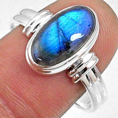 4.68cts natural blue labradorite 925 silver solitaire ring size 9.5 r66377