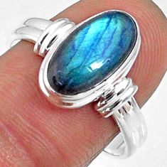 4.68cts natural blue labradorite 925 silver solitaire ring size 8.5 r66378