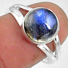 4.18cts natural blue labradorite 925 silver solitaire ring size 7.5 r66385
