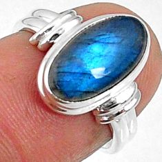 4.22cts natural blue labradorite 925 silver solitaire ring size 5.5 r66387