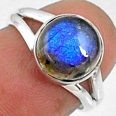 4.43cts natural blue labradorite 925 silver solitaire ring size 5.5 r66390