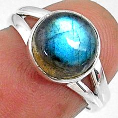 4.25cts natural blue labradorite 925 silver solitaire ring size 5.5 r66395