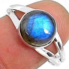 4.52cts natural blue labradorite 925 silver solitaire ring size 7.5 r66396