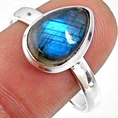 4.67cts natural blue labradorite 925 silver solitaire ring size 9.5 r66399