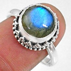 5.52cts natural blue labradorite 925 silver solitaire ring size 8.5 r66407