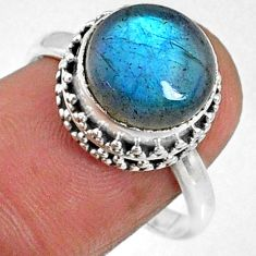 5.83cts natural blue labradorite 925 silver solitaire ring size 8.5 r66408