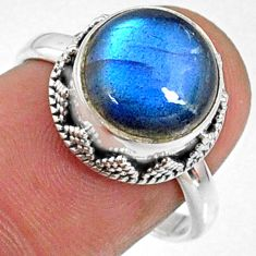 5.83cts natural blue labradorite 925 silver solitaire ring size 7.5 r66409