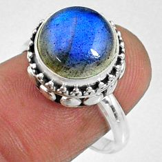 5.56cts natural blue labradorite 925 silver solitaire ring size 7.5 r66411