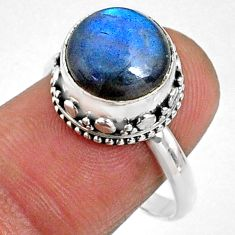 5.63cts natural blue labradorite 925 silver solitaire ring size 8.5 r66412