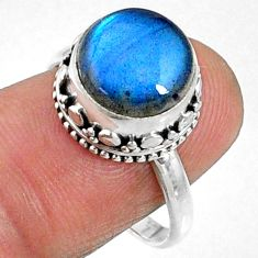 5.29cts natural blue labradorite 925 silver solitaire ring size 7.5 r66414