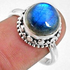 6.04cts natural blue labradorite 925 silver solitaire ring size 8.5 r66418