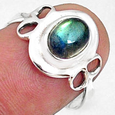2.23cts natural blue labradorite 925 silver solitaire ring size 7.5 r68574