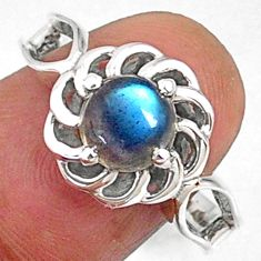 2.58cts natural blue labradorite 925 silver solitaire ring size 8.5 r68695