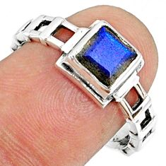 1.30cts natural blue labradorite 925 silver solitaire ring size 8.5 r68734