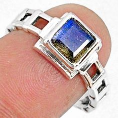 1.30cts natural blue labradorite 925 silver solitaire ring size 7.5 r68735