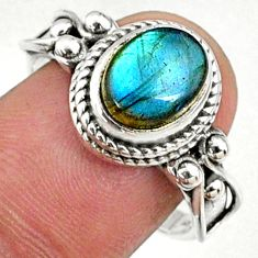 3.29cts natural blue labradorite 925 silver solitaire ring size 8.5 r68754