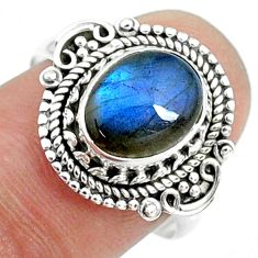 3.98cts natural blue labradorite 925 silver solitaire ring size 8.5 r73431
