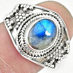 3.13cts natural blue labradorite 925 silver solitaire ring size 8.5 r74735