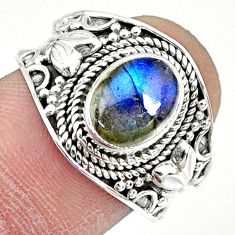 2.92cts natural blue labradorite 925 silver solitaire ring size 7.5 r74737