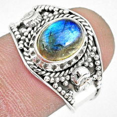 3.01cts natural blue labradorite 925 silver solitaire ring size 8.5 r74739