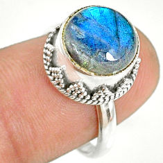 5.80cts natural blue labradorite 925 silver solitaire ring size 7.5 r76820