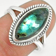 7.91cts natural blue labradorite 925 silver solitaire ring size 7.5 r77647