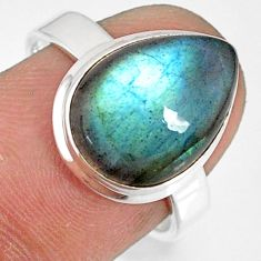 5.95cts natural blue labradorite 925 silver solitaire ring size 7.5 r77662