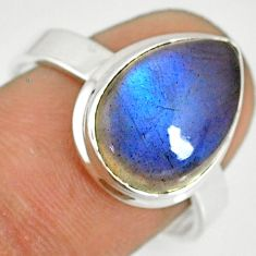 6.26cts natural blue labradorite 925 silver solitaire ring size 8.5 r77674