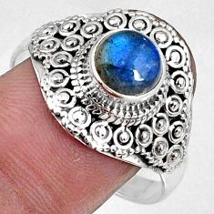 2.44cts natural blue labradorite 925 silver solitaire ring size 10 r61053