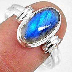 4.66cts natural blue labradorite 925 silver solitaire ring size 10 r66349