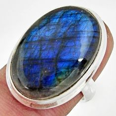 19.82cts natural blue labradorite 925 silver solitaire ring size 6 r26498
