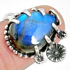 10.70cts natural blue labradorite 925 silver solitaire ring size 7 r67373