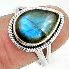 6.04cts natural blue labradorite 925 silver solitaire ring size 8 r22152