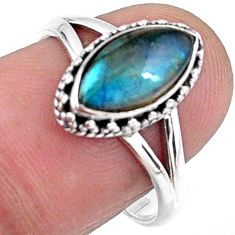 2.61cts natural blue labradorite 925 silver solitaire ring size 8 r57419