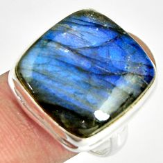 18.01cts natural blue labradorite 925 silver solitaire ring size 9 r26162