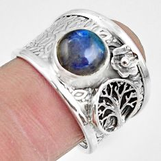 3.29cts natural blue labradorite 925 silver tree of life ring size 7.5 r49833