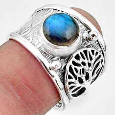 3.29cts natural blue labradorite 925 silver tree of life ring size 7 r49830