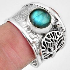 3.53cts natural blue labradorite 925 silver tree of life ring size 8 r49831