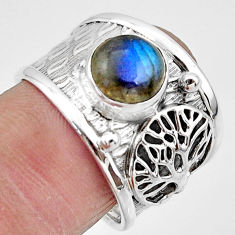 3.53cts natural blue labradorite 925 silver tree of life ring size 8 r49836