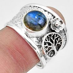 3.29cts natural blue labradorite 925 silver tree of life ring size 8 r49838