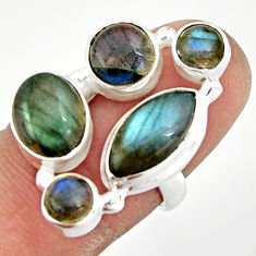 10.89cts natural blue labradorite 925 sterling silver ring jewelry size 6 r21174