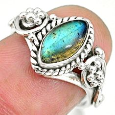 2.55cts natural blue labradorite 925 sterling silver ring jewelry size 6 r90051