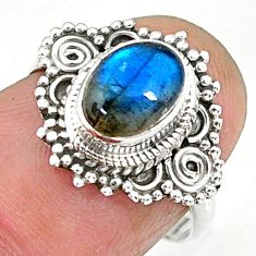 1.96cts natural blue labradorite 925 sterling silver ring jewelry size 6 r90267