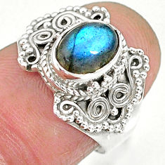 2.20cts natural blue labradorite 925 sterling silver ring jewelry size 6 r90278