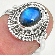 1.97cts natural blue labradorite 925 sterling silver ring jewelry size 6 r90286